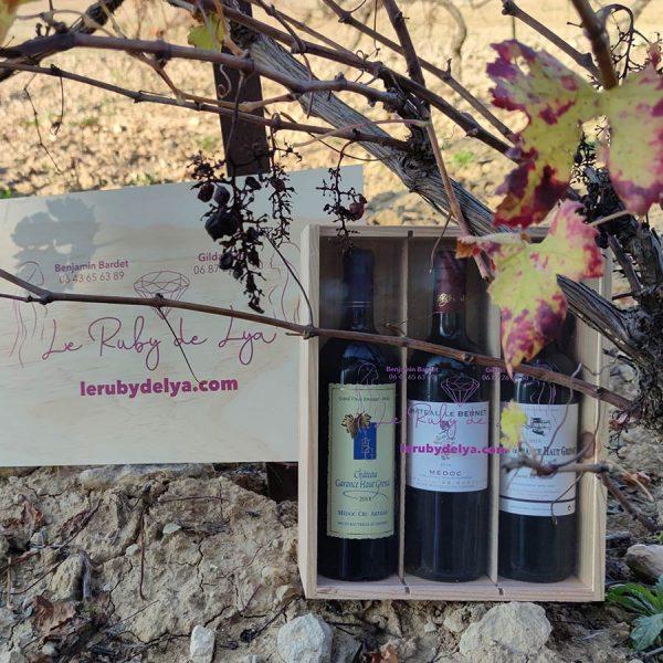 Coffret bois 3 bouteilles le Ruby de Lya